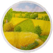 On August Grain Fields Round Beach Towel