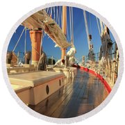 Round Beach Towel featuring the photograph On Deck Of The Schooner Eastwind by Roupen  Baker