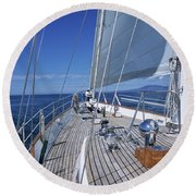 On Deck Off Mexico Round Beach Towel