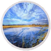 Round Beach Towel featuring the photograph On Frozen Pond by Phil Koch
