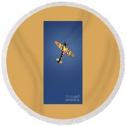 On Golden Wings Round Beach Towel