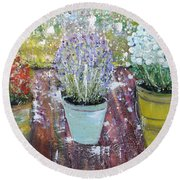 On Grandma's Porch Round Beach Towel by Evelina Popilian