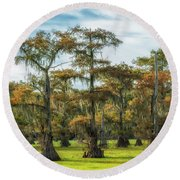 On Green Bayou Round Beach Towel