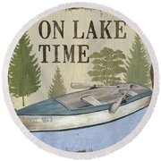 On Lake Time Round Beach Towel
