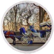 On My Bucket List Central Park Carriage Ride Round Beach Towel