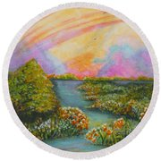 On My Way Round Beach Towel by Holly Carmichael