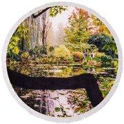 On Oscar - Claude Monet's Garden Pond  Round Beach Towel