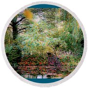 Reflection On, Oscar - Claude Monet's Garden Pond Round Beach Towel
