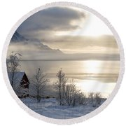 Round Beach Towel featuring the photograph On My Way Through Lofoten 4 by Dubi Roman