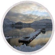 Round Beach Towel featuring the photograph On My Way Through Lofoten 1 by Dubi Roman