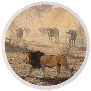 Round Beach Towel featuring the painting On Patrol by Alan M Hunt