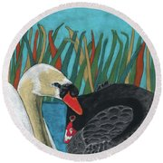 On Peaceful Pond Round Beach Towel