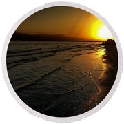 On The Banks Of The Salton Sea Round Beach Towel by Chris Tarpening