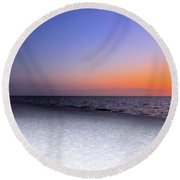 On The Beach At Sunset Round Beach Towel
