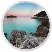 Round Beach Towel featuring the photograph On The Beach In Dawn by Davor Zerjav