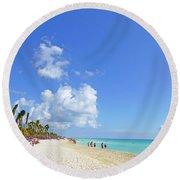 Round Beach Towel featuring the digital art On The Beach M1 by Francesca Mackenney