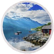 On The Beach Of Sorfjorden Round Beach Towel