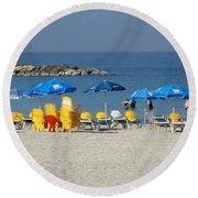 On The Beach-tel Aviv Round Beach Towel