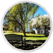 On The Bench Round Beach Towel