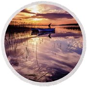 Round Beach Towel featuring the photograph On The Boat by Okan YILMAZ