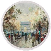 On The Champs-elysees Round Beach Towel