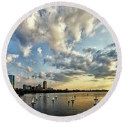 On The Charles II Round Beach Towel by Rick Berk