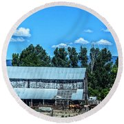 On The Farm Round Beach Towel by Billie-Jo Miller