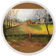 On The Farm Round Beach Towel