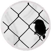 On The Fence Round Beach Towel by Afrodita Ellerman