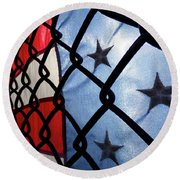 Round Beach Towel featuring the photograph On The Fence by Robert Geary