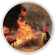 On The Fire Lines Round Beach Towel by Chris Tarpening