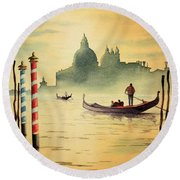 On The Grand Canal Venice Italy Round Beach Towel by Bill Holkham