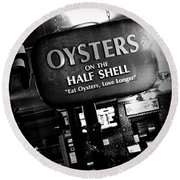 On The Half Shell - Bw Round Beach Towel