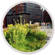 Round Beach Towel featuring the photograph On The High Line by James Kirkikis