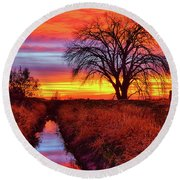On The Horizon Round Beach Towel by Greg Norrell