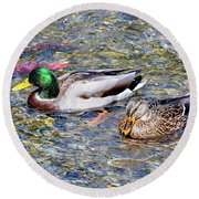 Round Beach Towel featuring the photograph On The Hunt by David Lawson