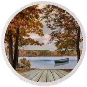 Round Beach Towel featuring the photograph On The Lake by Robin-Lee Vieira