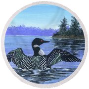 On The Lake Sketch Round Beach Towel
