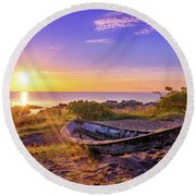On The Last Shore Round Beach Towel