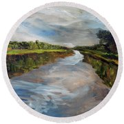 Round Beach Towel featuring the painting On The Mashpee River by Michael Helfen