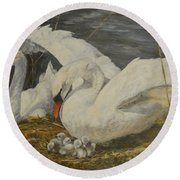 Round Beach Towel featuring the painting On The Nest by Beatrice Cloake