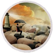 On The Lookout Round Beach Towel