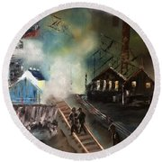 Round Beach Towel featuring the painting On The Pennsylvania Tracks by Denise Tomasura
