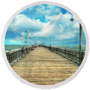 On The Pier At Tybee Round Beach Towel