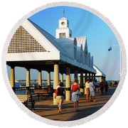Round Beach Towel featuring the photograph On The Pier by James Kirkikis