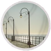 On The Pier Round Beach Towel by Linda Woods