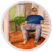 On The Porch With Uncle Pervy Round Beach Towel by Jean Haynes