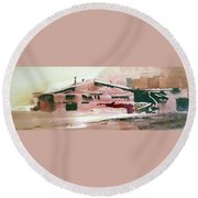 Round Beach Towel featuring the painting On The Ranch by Ed Heaton