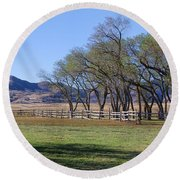 Round Beach Towel featuring the photograph On The Ranch by Ely Arsha