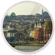 On The River Lee, Cork Ireland Round Beach Towel by Marie Leslie
